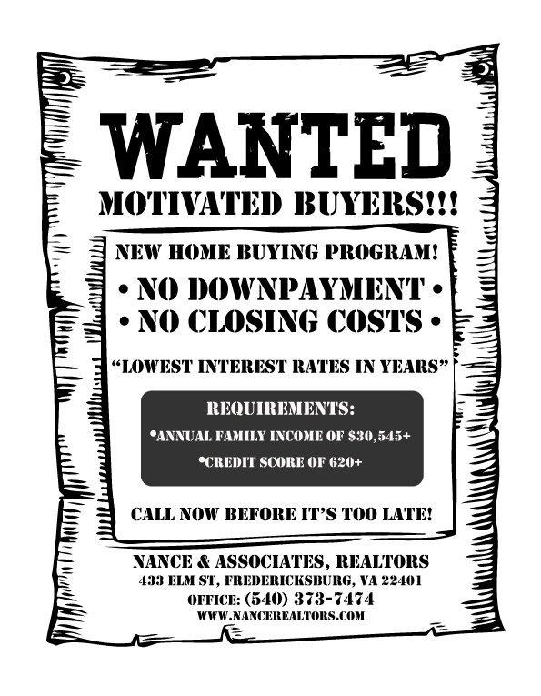 Wanted Poster: Motivated buyers